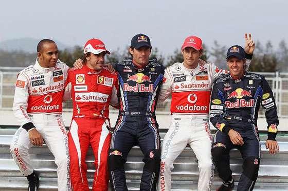 Da esquerda para a direita: Lewis Hamilton (GBR, McLaren), Fernando Alonso (ESP, Ferrari), Mark Webber (AUS, Red Bull Racing), Jenson Button (GBR, McLaren), Sebastian Vettel (GER, Red Bull Racing), Formula One World Championship, Grande Prêmio da Coreia do Sul, Korea International Circuit, Yeongam, Coreia do Sul, 21 October 2010