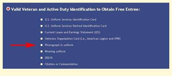 Applebee's Veteran's Discount Identification Requirement